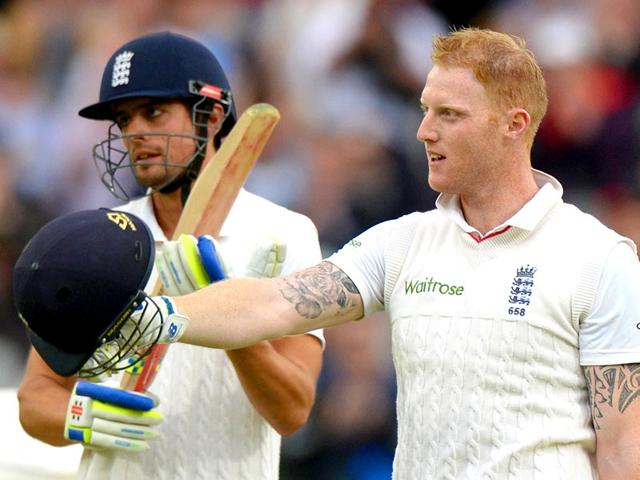 England-s-Ben-Stokes-celebrates-reaching-his-century-against-New-Zealand-with-captain-Alastair-Cook-Stokes-century-off-85-balls-was-the-fastest-ever-Test-hundred-at-Lord-s-Reuters-Photo