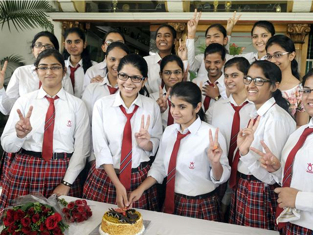 Students-of-Queens-College-Indore-celebrate-their-success-in-CBSE-Class-12-exam-in-Indore-on-Monday-Shankar-Mourya-HT-photo