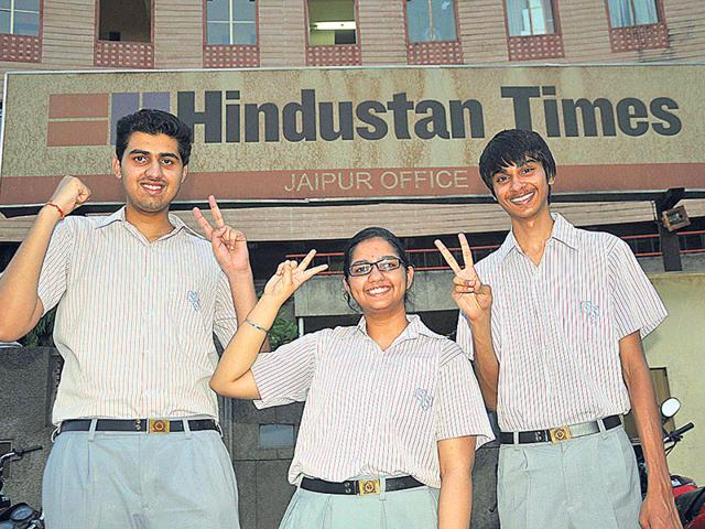 From-left-Toppers-from-SMS-School-Divyansh-Pareek-Pahul-Singh-and-Aditya-Hirawat-at-HT-Office-on-Monday-Prabhakar-Sharma-HT