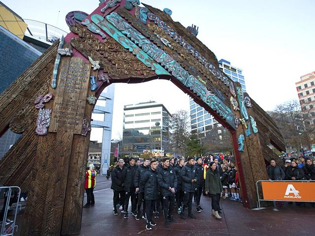 U-20-New-Zealand-team-members-arrive-for-the-official-welcome-for-the-FIFA-U-20-World-Cup-soccer-at-Aotea-Square-in-Auckland-New-Zealand-AP-Photo