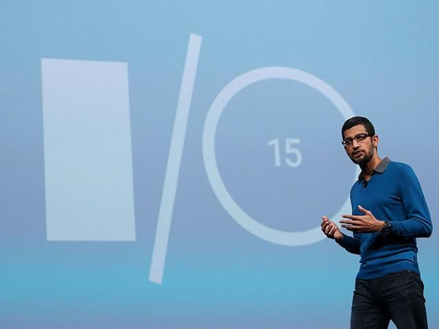 Sundar-Pichai-Senior-Vice-President-for-products-delivers-his-keynote-address-during-the-Google-I-O-REUTERS