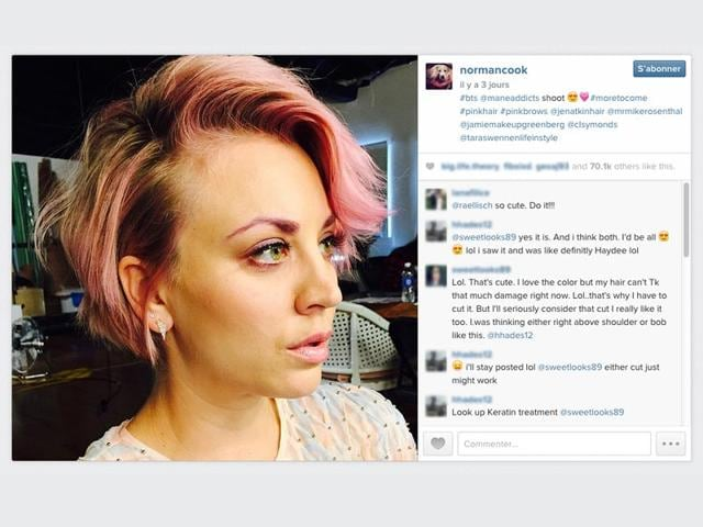 Actor-Kaley-Cuoco-brought-the-rainbow-hair-trend-back-into-the-spotlight-this-week-when-she-revealed-a-new-bubblegum-pink-do-with-matching-eyebrows-on-her-Instagram-account-Instagram