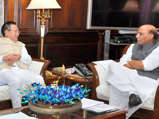 Home-Minister-Rajnath-Singh-with-Nagaland-Chief-Minister-T-R-Zeliang-in-a-meeting-in-New-Delhi-on-Monday-Home-minister-of-Nagaland-Y-Patton-was-also-present-PTI-Photo