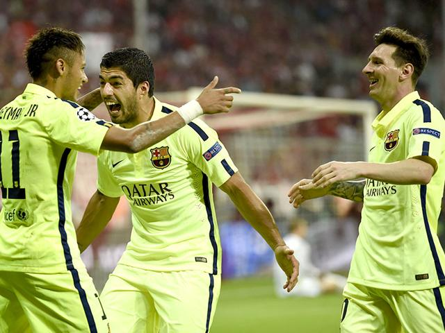Barcelona-s-Neymar-celebrates-scoring-his-second-goal-with-Luis-Suarez-and-Lionel-Messi-during-their-UEFA-Champions-League-semi-final-against-Bayern-Munich-in-Munich-AFP-PHOTO