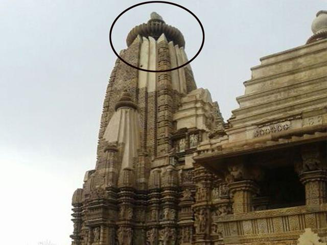 The-ASI-chief-has-assured-that-proper-restoration-would-be-undertaken-at-Khajuraho-temple-that-was-partially-damaged-after-lightning-struck-it-HT-photo