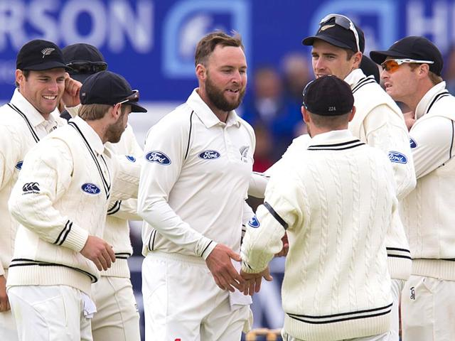 New-Zealand-s-Mark-Craig-C-celebrates-with-teammates-after-taking-the-wicket-of-an-England-batsman-in-the-second-Test-between-England-and-New-Zealand-at-Headingley-in-Leeds-England-on-June-2-2015-AP-Photo
