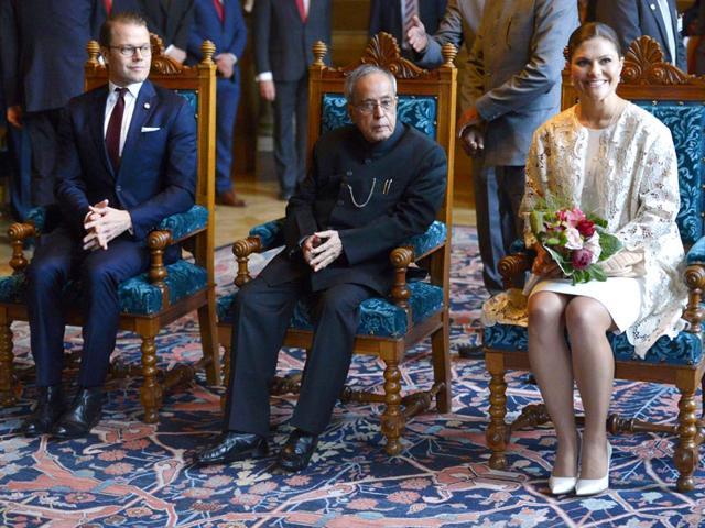 Sweden-s-Prince-Daniel-President-of-India-Pranab-Mukherjee-and-Swedish-Crown-Princess-Victoria-during-a-visit-at-Uppsala-University-in-Uppsala-north-of-Stockholm-Sweden-on-June-02-2015-AFP-Photo