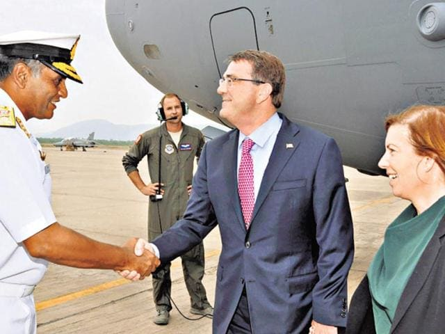 US-secretary-of-defence-Ashton-Carter-who-arrived-in-Visakhapatnam-on-Tuesday-PTI
