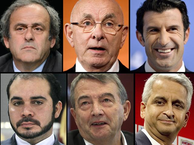 Top-left-to-right-UEFA-president-Michel-Platini-Royal-Dutch-Football-Association-chairman-Michael-van-Praag-former-Portuguese-footballer-Luis-Figo-bottom-left-to-right-Jordan-s-Prince-Ali-bin-al-Hussein-German-football-federation-president-Wolfgang-Niersbach-and-US-soccer-federation-president-Sunil-Gulati-Reuters