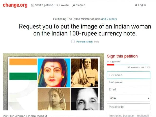 Indian currency notes,Women on Indian currency notes,Change.org campaign