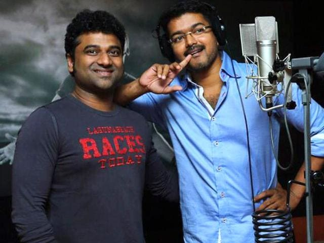 Puli-actor-Vijay-with-music-composer-Devi-Sri-Prasad-actorvijay-Twitter