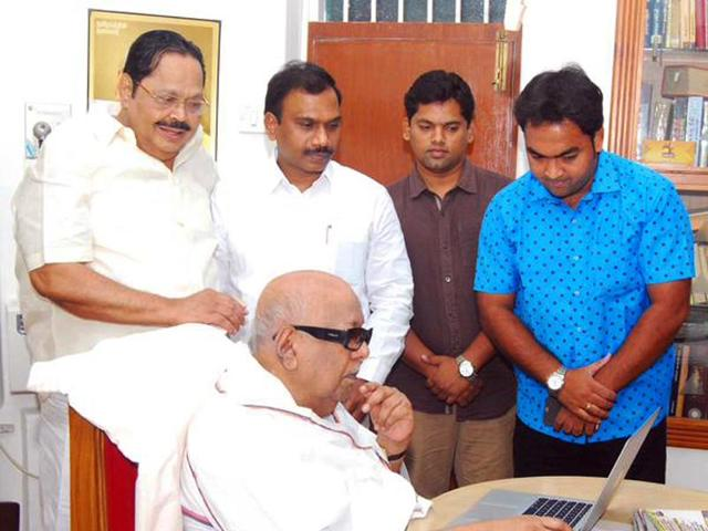 Karunanidhi-with-his-party-colleagues-Durai-Murugan-and-A-Raja-Photo-courtesy-Official-Twitter-account-of-M-Karunanidhi