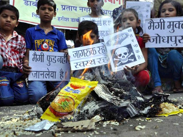 Many-districts-across-India-burnt-packets-of-noodles-to-mark-their-protest-against-unhealthy-food-products-being-circulated-and-consumed-by-people-especially-children-HT-Photo