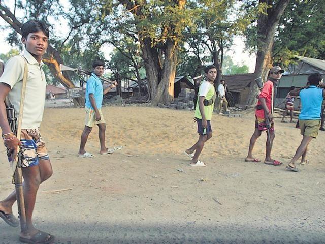 Salwa-Judum-members-at-Kurti-a-relief-camp-in-Dantewada-2007-Anand-Shinde-HT-Photo