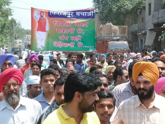 Former-CPS-and-BJP-Leader-Sukhpal-Singh-Nannu-leading-a-protest-march-at-Ferozepur-on-Friday-against-local-MC-HT-Photo