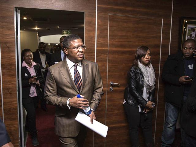 South-African-Sports-Minister-Fikile-Mbalula-arrives-for-a-press-briefing-at-the-South-African-football-Association-SAFA-House-on-June-3-2015-in-Johannesburg-Mbalula-on-June-3-said-the-10-million-that-US-authorities-allege-was-a-bribe-paid-to-host-the-2010-World-Cup-was-a-fully-approved-payment-to-support-football-among-the-African-diaspora-in-the-Caribbean-AFP-Photo