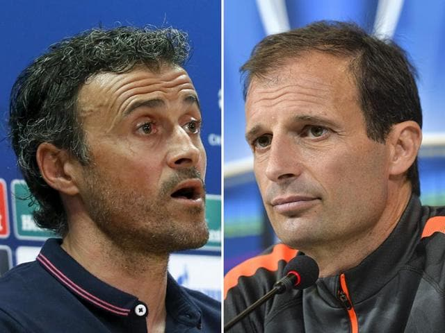 This-composite-photo-shows-Barcelona-coach-Luis-Enrique-L-and-Juventus-coach-Massimiliano-Allegri-at-a-news-conference-on-June-2-2015-ahead-of-their-respective-team-s-clash-in-the-UEFA-Champions-League-Final-in-Berlin-on-June-6-Agencies