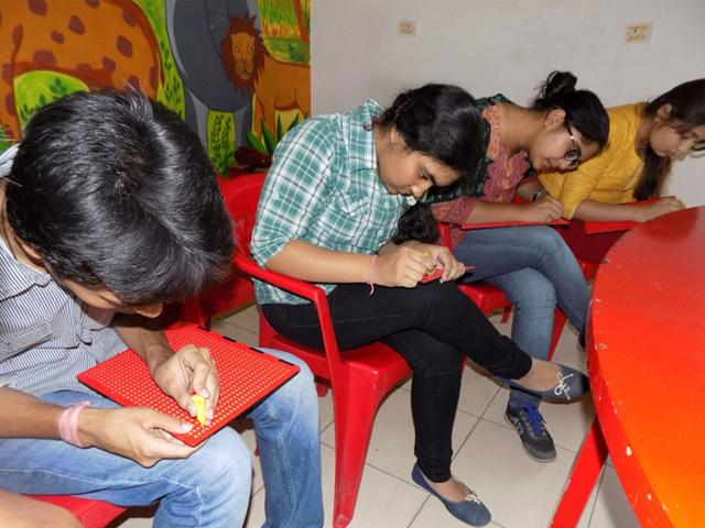 Students-learn-Braille-at--Arushi-in-Bhopal-on-Friday-HT-photo