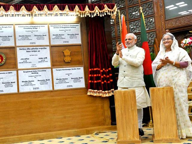 Prime-Minister-Narendra-Modi-and-Bangladesh-PM-Sheikh-Hasina-during-the-joint-unveiling-of-foundation-stones-of-various-project-in-Dhaka-PTI-Photo