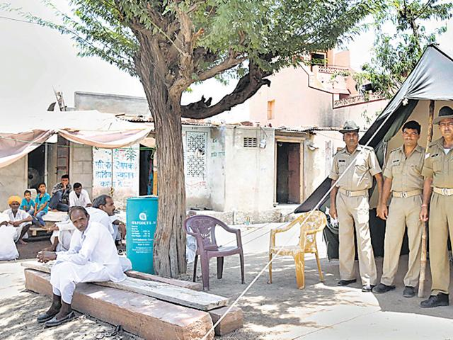 The-police-picket-has-been-pitched-to-keep-an-eye-outside-Ganesh-Meghwal-s-house-after-the-May-14-incident-Deepak-Sharma-HT-Photo