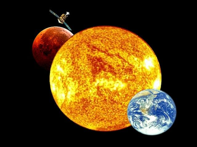 The-positions-of-Mars-Earth-and-the-sun-during-a-period-that-occurs-approximately-every-26-months-when-Mars-passes-almost-directly-behind-the-sun-from-Earth-s-perspective