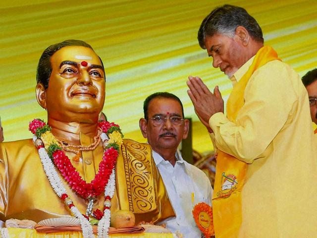 In-this-file-photo-TDP-president-and-Andhra-Pradesh-chief-minister-N-Chandrababu-Naidu-pays-tributes-to-NT-Rama-Rao-on-the-party-founder-s-92nd-birth-anniversary-in-Hyderabad-PTI-Photo