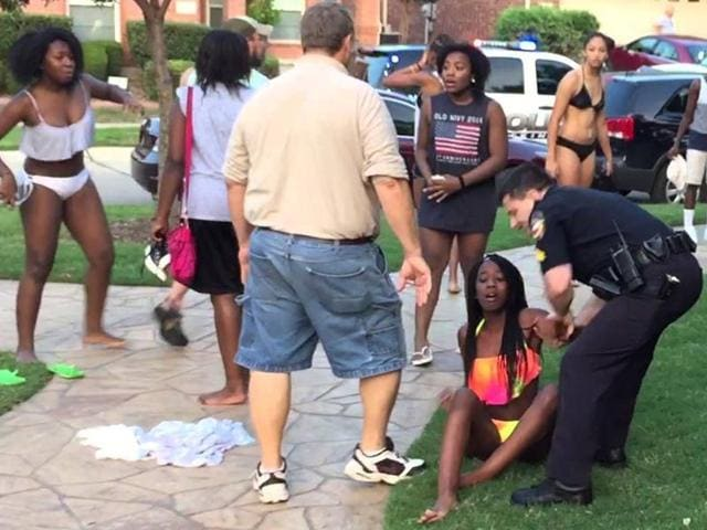 pool party,cop,gun