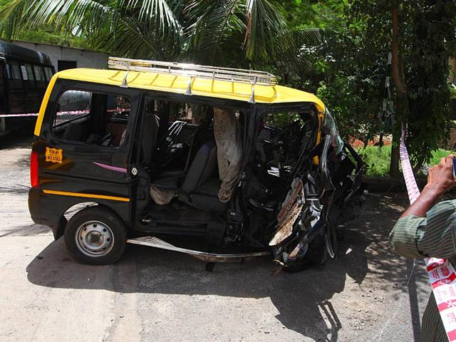 The-Audi-Q3-which-was-crashed-into-the-taxi-by-high-court-lawyer-Janhavi-Gadkar-killing-2-and-injuring-4-in-Mumbai-Kunal-Patil-HT-photo
