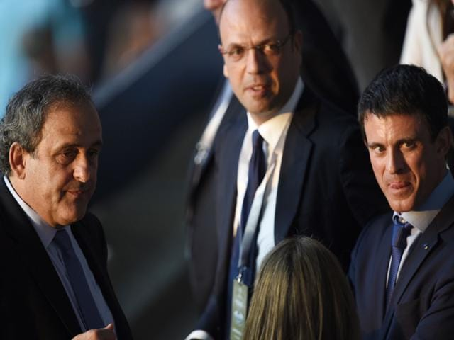 French-Prime-Minister-Manuel-Valls-R-and-UEFA-President-Michel-Platini-L-are-seen-prior-to-the-Uefa-Champions-League-Final-between-Juventus-and-FC-Barcelona-at-the-Olympic-Stadium-in-Berlin-on-June-6-2015-AFP-Photo