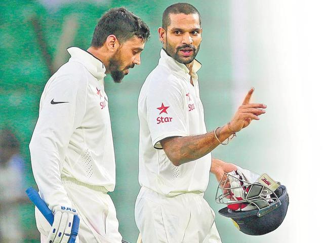 Despite-an-ordinary-run-in-the-IPL-Shikhar-Dhawan-showed-no-signs-of-rustiness-while-partner-Murali-Vijay-held-up-the-other-end-during-the-first-day-s-play-of-the-Fatullah-Test-against-Bangladesh-AP-Photo