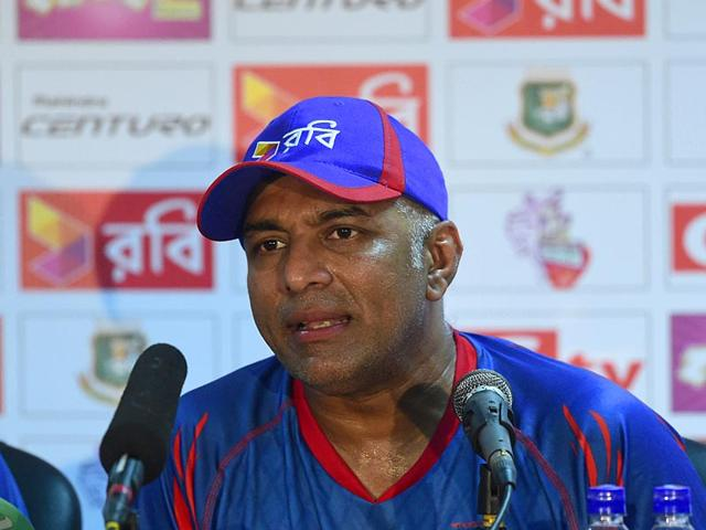 Bangladesh-cricket-head-coach-Chandika-Hathurusingha-speaks-with-the-press-at-Khan-Shaheb-Osman-Ali-Stadium-in-Narayanganj-on-June-9-2015-ahead-of-the-one-off-Test-match-against-India-AFP-Photo