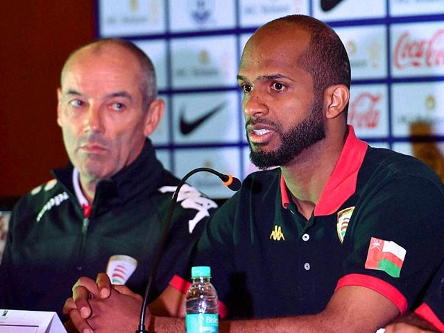 Oman-football-team-captain-Ali-Al-Habsi-speaks-as-Coach-Paul-Joseph-Le-Guen-looks-on-during-a-press-conference-in-Bengaluru-on-June-10-2015-the-eve-of-their-Fifa-World-Cup-2018-Preliminary-Joint-qualification-match-against-India-PTI-Photo