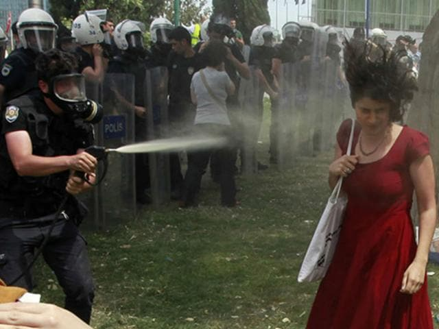 lady in red,gezi park,protest