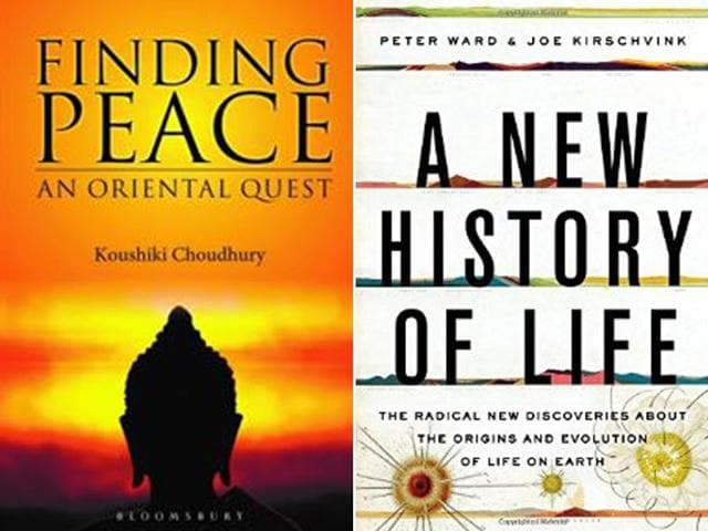 Koushiki-Choudhury-s-book-Finding-Peace-An-Oriental-Quest-left-and-Peter-Ward-and-Joe-Kirschvink-s-book-A-New-History-Of-Life