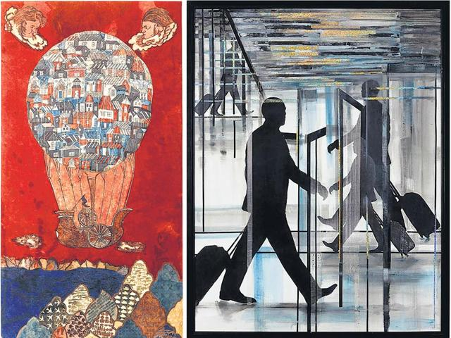 Lavanya-Mani-left-Where-the-wind-blows-Natural-dye-pigment-paint-and-machine-embroidery-on-cotton-fabric-72x36-inches-Meera-Devidayal-Airport-2012-Mixed-media-on-paper-50x38-inches