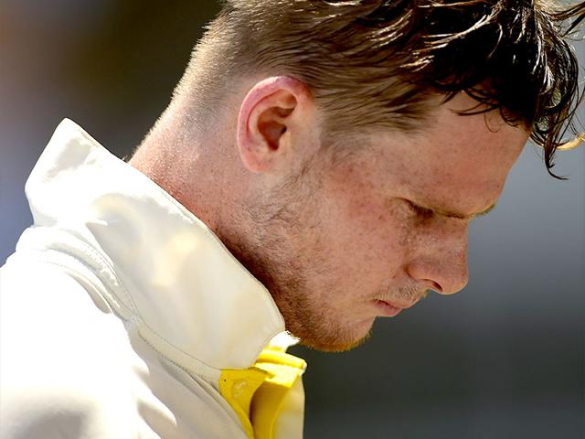 Steve-Smith-walks-off-dejected-after-being-dismissed-for-199-by-Jerome-Taylor-on-the-second-day-of-the-second-cricket-Test-between-Australia-and-the-West-Indies-June-12-2015-at-Sabina-Park-in-Kingston-Jamaica-AFP-Photo