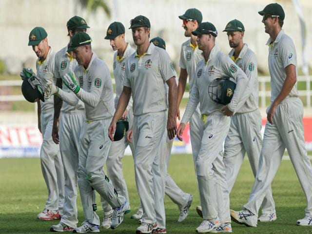 The-Australian-team-walks-off-the-pitch-at-the-end-of-the-third-day-of-their-second-cricket-Test-match-against-West-Indies-in-Kingston-Jamaica-on-June-13-2015-AP-Photo