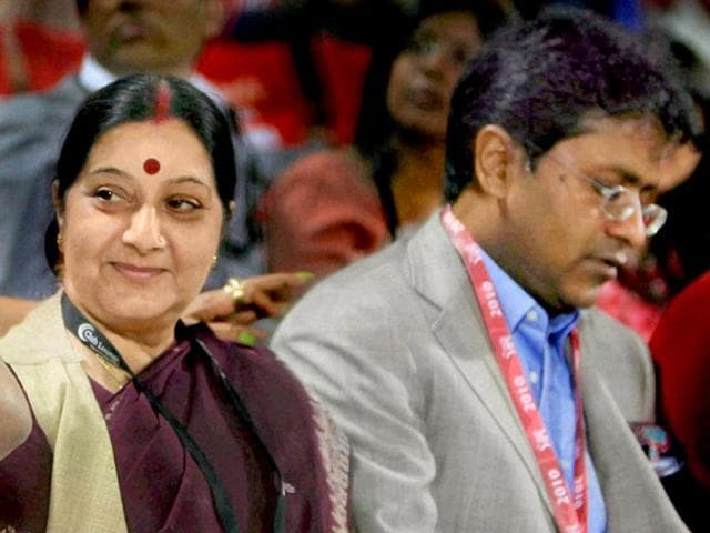 Sushma-Swaraj-with-former-IPL-commissioner-Lalit-Modi-during-an-IPL-match-in-New-Delhi-in-2010-PTI-File-Photo