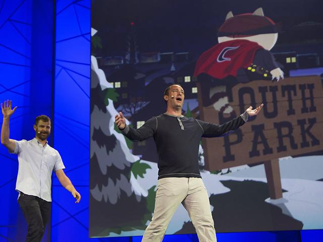 South-Park-co-founders-Matt-Stone-and-Trey-Parker-R-appear-at-the-Ubisoft-E3-Conference-on-June-15-2015-in-Los-Angeles-California-Photo-AFP-David-McNew