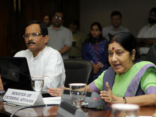 BJP leader Sushma Swaraj arriving to attend the monsoon session at Parliament House (Sushil Kumar/HT Photo)