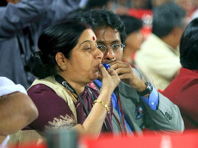 BJP-Leader-Sushma-Swaraj-during-the-2010-DLF-Indian-Premier-League-T20-group-stage-match-with-Lalit-Modi-Getty-Images