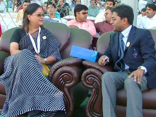 A-file-photo-of-Rajasthan-chief-minister-Vasundhara-Raje-and-Lalit-Modi-R-at-an-IPL-match-in-Jaipur-HT-Photo