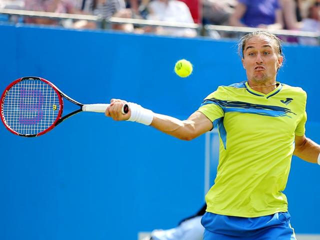 Alexandr-Dolgopolov-in-action-during-his-first-round-match-against-Rafael-Nadal-at-Queen-s-Club-on-Tuesday-Nadal-s-early-loss-means-his-chances-of-climbing-back-into-the-top-eight-of-the-ATP-rankings-from-his-current-10th-spot-in-time-for-the-All-England-Club-fortnight-are-gone-Barring-withdrawals-Nadal-is-unlikely-to-be-seeded-in-the-top-eight-at-Wimbledon-meaning-a-potentially-nightmarish-draw-Reuters-Photo