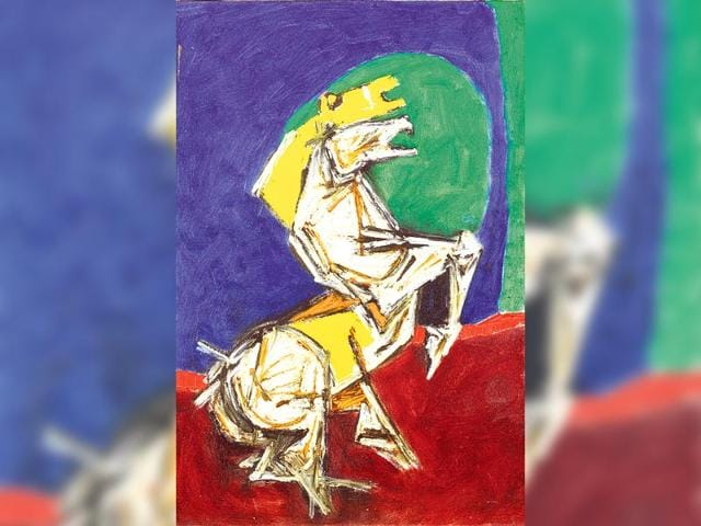 A-painting-from-the-Horses-series-by-MF-Hussain