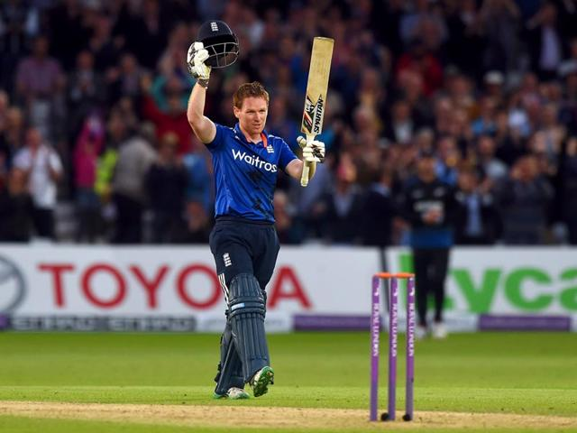 England-s-Eoin-Morgan-celebrates-his-century-during-the-fourth-one-day-international-cricket-match-between-England-and-New-Zealand-at-Trent-Bridge-cricket-ground-in-Nottingham-England-on-June-17-2015-AFP-Photo