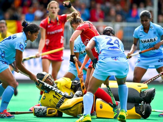 India-s-Sunita-Lakra-R-and-Belgium-s-Barbara-Nelen-in-action-during-their-Hockey-World-League-Semifinals-Group-B-match-in-Brasschaat-on-June-20-2015-AFP-Photo