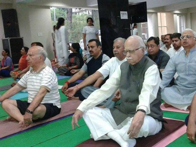 Senior-BJP-leader-LK-Advani-takes-part-in-a-camp-organised-to-mark-International-Yoga-Day-at-Palampur-on-Sunday-Shyam-Sharma-HT