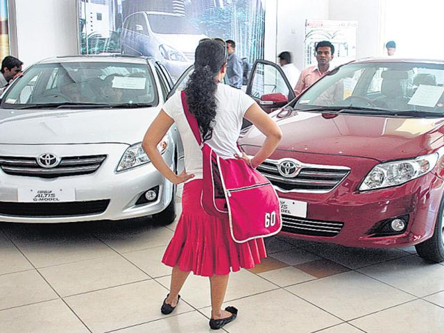 A-prospective-women-buyer-at-a-car-showroom-in-New-Delhi-HT-file