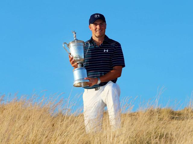 Jordan-Spieth-poses-with-the-trophy-after-winning-the-115th-US-Open-Championship-at-Chambers-Bay-on-June-21-2015-in-University-Place-Washington-Now-he-s-the-youngest-since-Bobby-Jones-nearly-a-century-ago-to-win-back-to-back-major-championships-Spieth-has-a-chance-to-do-what-even-Tiger-Woods-couldn-t-and-win-all-four-of-golf-s-major-tournaments-in-one-year-Getty-Images