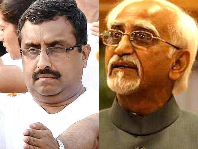 A-combination-photo-of-senior-BJP-leader-Ram-Madhav-and-vice-president-Hamid-Ansari-Agencies